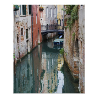 Italy, Venice, Reflections and Small Bridge of Poster