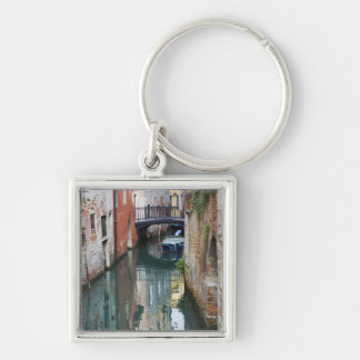 Italy, Venice, Reflections and Small Bridge of Silver-Colored Square Key Ring
