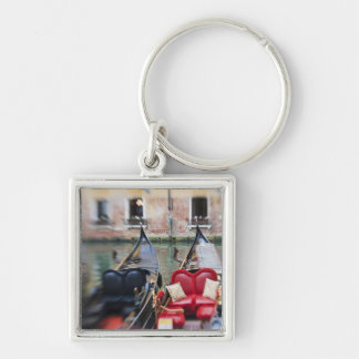 Italy, Venice, Selective Focus of Gondola in the 2 Silver-Colored Square Key Ring