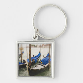 Italy, Venice, Selective Focus of Gondola in the Silver-Colored Square Key Ring