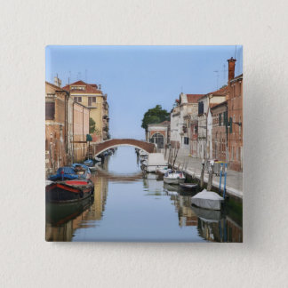 Italy, Venice. View of boats and homes along one 15 Cm Square Badge