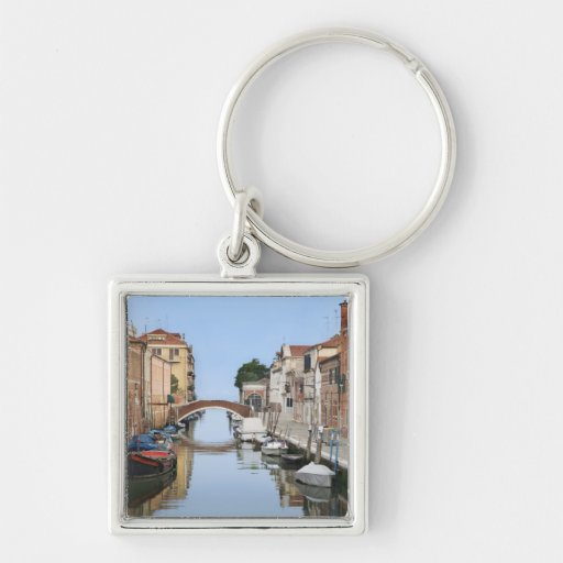 Italy, Venice. View of boats and homes along one Key Chains