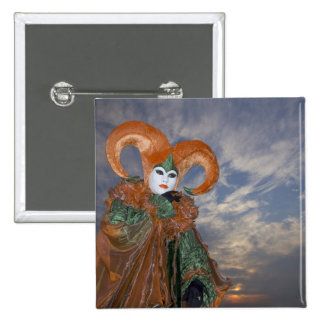 Italy, Venice. Woman dressed in costume for 15 Cm Square Badge