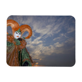 Italy, Venice. Woman dressed in costume for Rectangular Photo Magnet