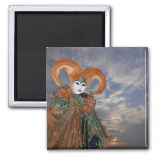 Italy, Venice. Woman dressed in costume for Square Magnet