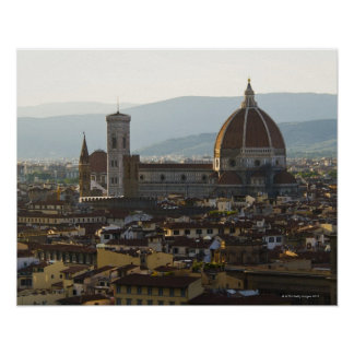 Italy, View of Florence with Basilica di Santa Poster