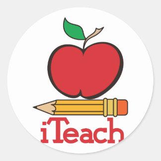iTeach Teachers Apple Classic Round Sticker