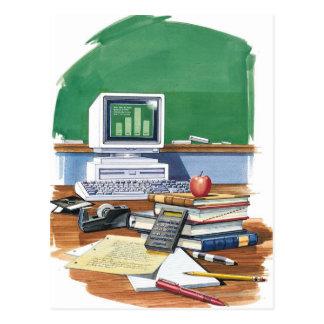 Items on a school teachers desk  Color Postcard