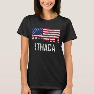 Ithaca New York Skyline American Flag Distressed T-Shirt