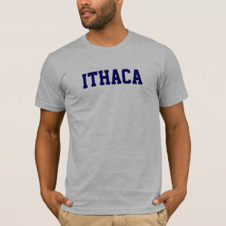 Ithaca t-shirt on Heather Grey with Navy Blue