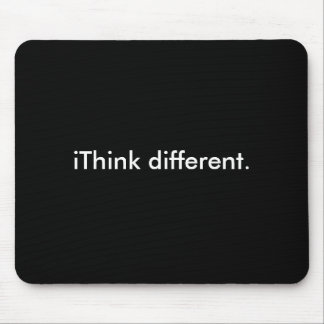 iThink different: White on Black Mouse Pad