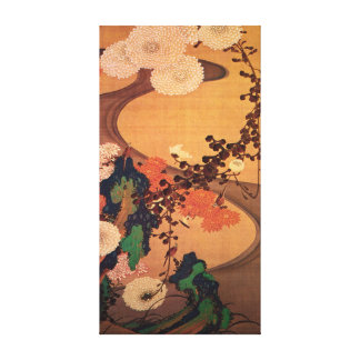 Ito Jakuchu Chrysanthemums by a Stream with Rocks Canvas Print