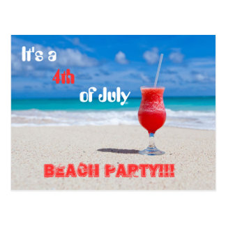It's a 4th of July Beach Party Postcard