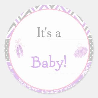 It's a Baby Ballet Baby Shower Round Sticker
