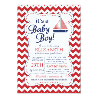 """It's a Baby Boy Sailboat Nautical Baby Shower 5"""" X 7"""" Invitation Card"""