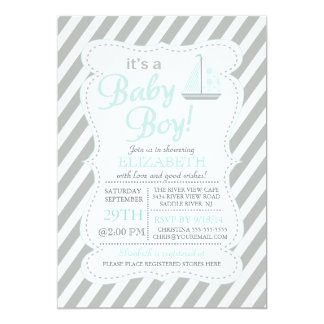 It's a Baby Boy Sailboat Nautical Baby Shower 5x7 Paper Invitation Card