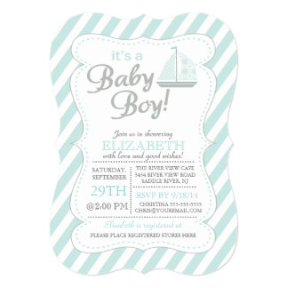 It's a Baby Boy Sailboat Nautical Baby Shower Personalized Announcement