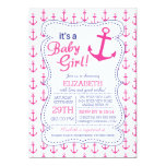 It's a Baby Girl Anchor Nautical Baby Shower 13 Cm X 18 Cm Invitation Card