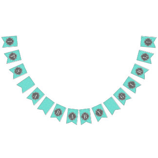 It's a Baby Girl Turquoise Polka Dot and Charcoal Bunting