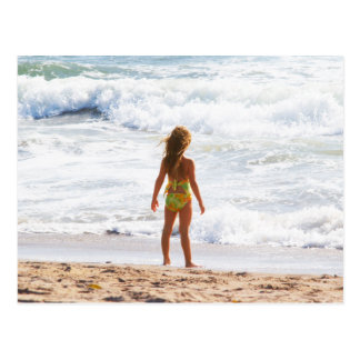 Its A Big World - Little Girl At The Beach Postcard