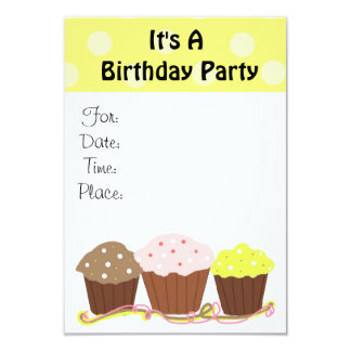 It's A Birthday Party with Cupcakes 9 Cm X 13 Cm Invitation Card