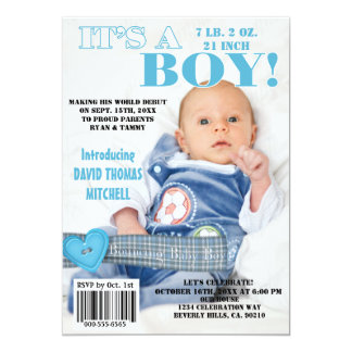 It's A Bouncing Baby Boy Magazine Cover Card