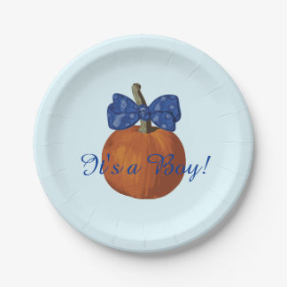 It's a Boy Adorable Lil Pumpkin Baby Shower 7 Inch Paper Plate
