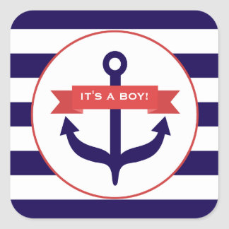 It's A Boy Anchor Banner & Stripes Baby Sticker