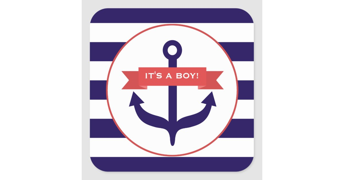 It S A Boy Anchor Banner Amp Stripes Baby Sticker Zazzle