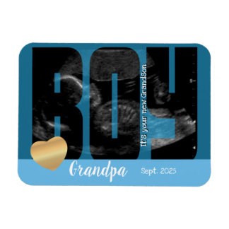 It's a Boy Announcement - Sonogram with DIY Text Magnet