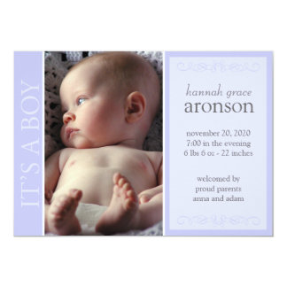 """It's A Boy Baby Announcement (Traditional Violet) 5"""" X 7"""" Invitation Card"""