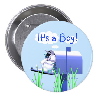 Its a Boy - Baby Bunny in Mailbox Button
