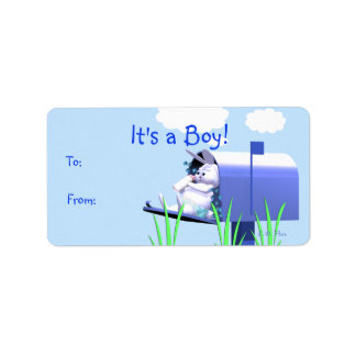 Its a Boy - Baby Bunny in Mailbox Gift Tag Address Label
