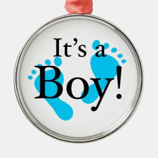 Its a Boy - Baby, Newborn, Celebration Silver-Colored Round Decoration