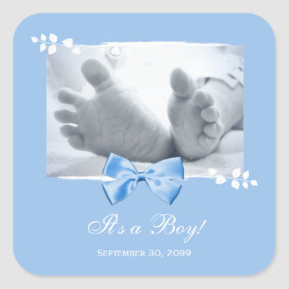 Its a Boy Baby Shower Elegant Birth Announcement Square Sticker