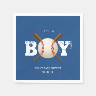It's a Boy Baseball Theme Navy Blue Baby Shower Paper Napkin