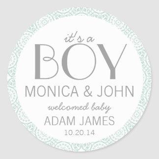 It's a Boy Birth Announcement Envelope Seal Round Sticker