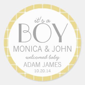 It's a Boy Birth Announcement Envelope Seal Round Sticker