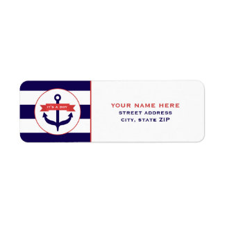 It's A Boy Blue Anchor & Stripes Address Labels
