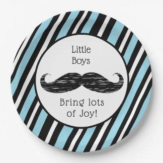 Its a boy, Blue and Black Mustache Baby Shower Paper Plate