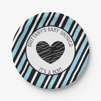 Its a boy, Blue and Black Striped Baby Shower Paper Plate