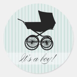 It's a Boy! Blue Baby Buggy Sticker