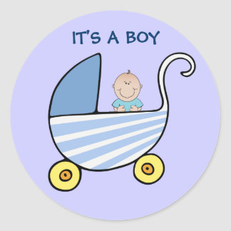 It's A Boy Blue Baby Carriage Shower Announcement Classic Round Sticker
