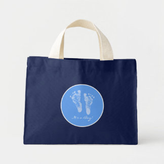 Its a Boy Blue Baby Footprints Birth Announcement Tote Bags