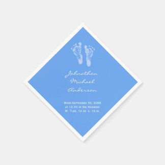 Its a Boy Blue Baby Footprints Birth Announcement Paper Napkin