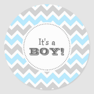 It's a BOY! blue chevron envelope seal Round Sticker