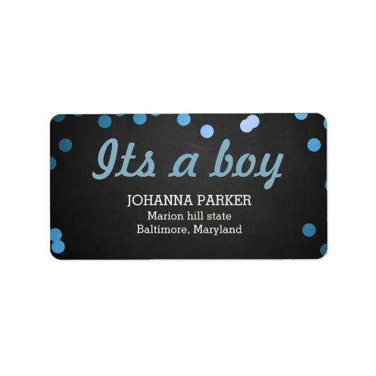 Its A Boy Blue Confetti Rustic Chalkboard Label