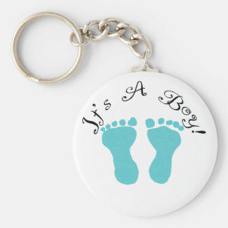 It's A Boy Blue Footprints Key Ring