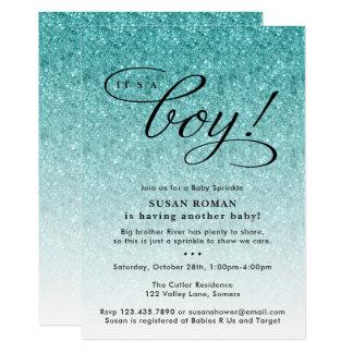 It's a Boy Blue Ombre Glitter Baby Sprinkle Shower Card