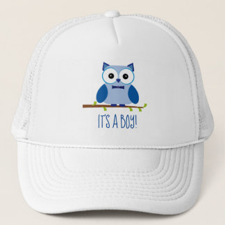 It's a Boy Blue Owl Gender Reveal Baby Shower Trucker Hat
